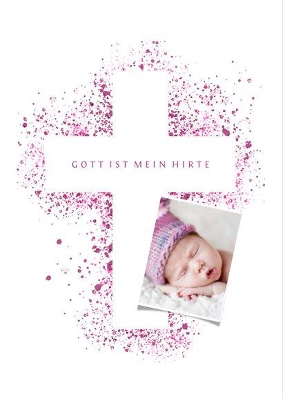 Taufeinladung Kreuz pink Spritztechnik mit Foto 2