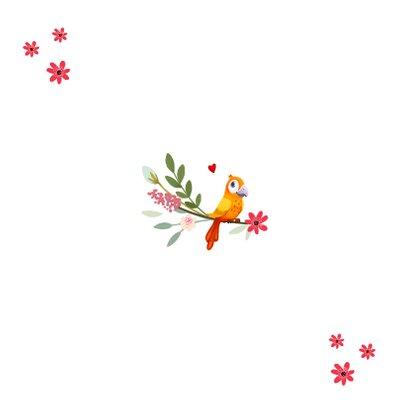 Taufeinladung mit Blumen und Vogel Rückseite