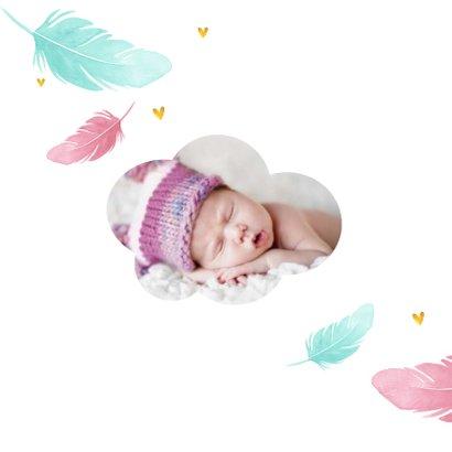 Taufeinladung mit Federn in rosa und blau 2