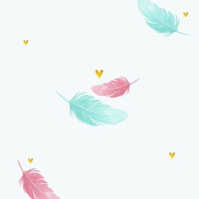 Taufeinladung mit Federn in rosa und blau Rückseite