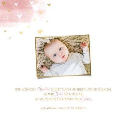 Taufeinladung rosa Aquarell Regenbogen & Herzen 2