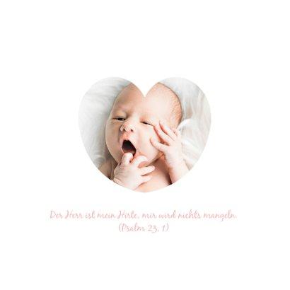 Taufeinladung rosa mit Herzen 2