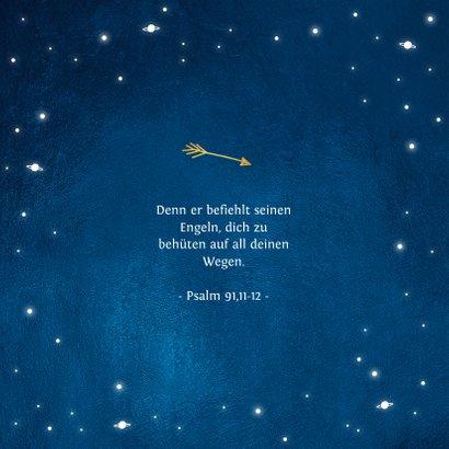 Taufeinladung rundes Foto und Sternenhimmel 2