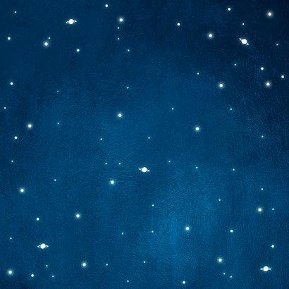 Taufeinladung rundes Foto und Sternenhimmel Rückseite