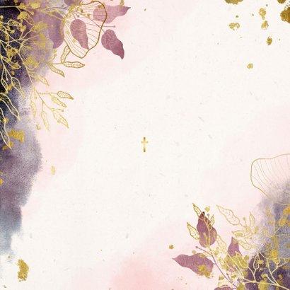 Taufeinladung Watercolour rosa botanisch Rückseite