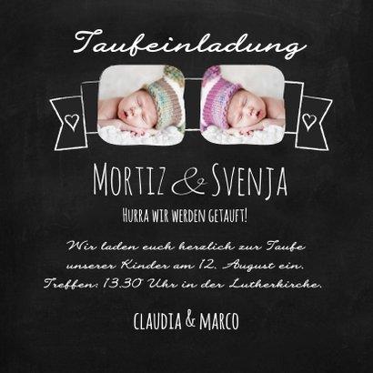 Taufeinladung Zwillinge im Kreidelook mit Fotos 3