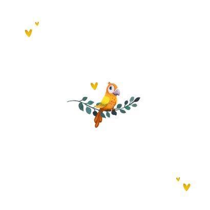 Taufkarte Danke Feder-Blumenkranz und Vogel Rückseite