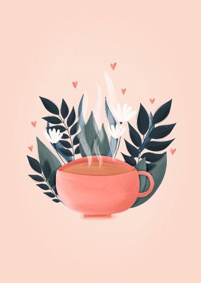 Tegoedbon theekopje met hartjes en plantjes 2