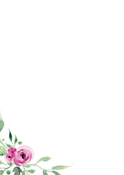 Thank you! Trouwkaart Stijlvol wit met bloemen 2