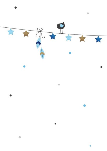 Tipi tent jongen slinger met sterretjes en vogeltje 2