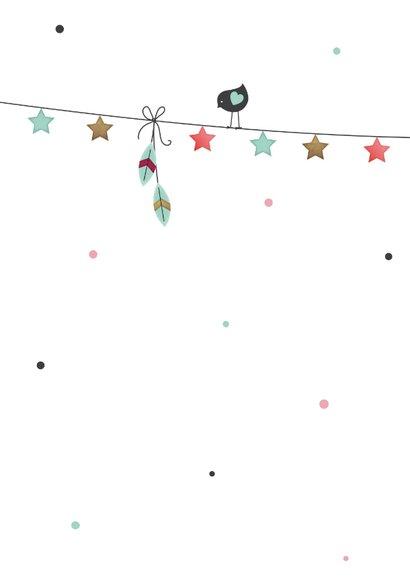 Tipi tent meisje slinger met sterretjes en vogeltje 2