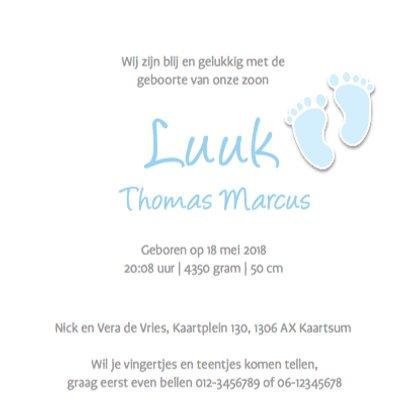 Traditioneel geboortekaartje ruit en  voetjes 3