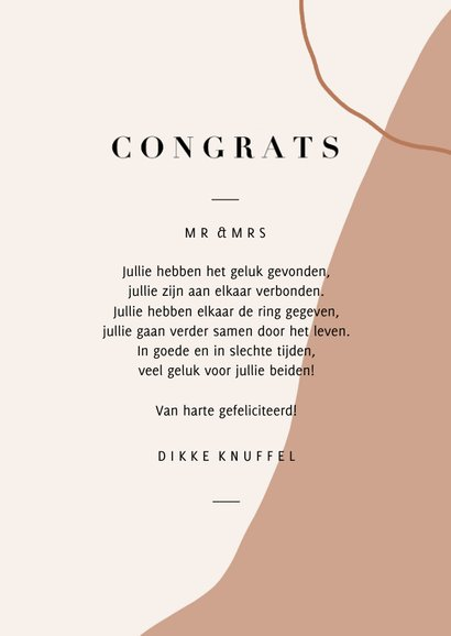 Trendy abstracte felicitatiekaart huwelijk congrats en takje 3