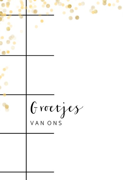 Trendy fotokaart met groet, raster en gouden confetti 2