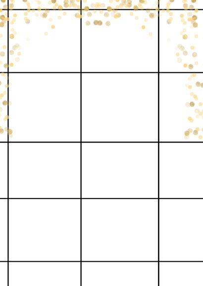 Trendy fotokaart met groet, raster en gouden confetti Achterkant