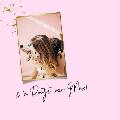 Trendy fotokaart met watercolour in roze en goud 2