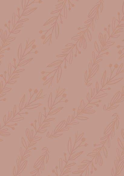Trendy geboortekaartje in oudroze met plantjes Achterkant