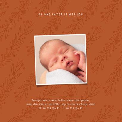 Trendy geboortekaartje in roest met takjes 2