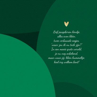 Trendy geboortekaartje stijlvol hartje goud groen foto 2