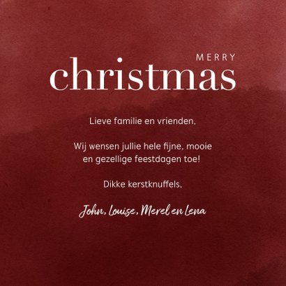 Trendy kerstkaart met foto, waterverf en merry christmas 3