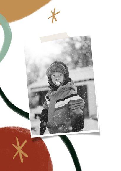 Trendy kerstkaart met grote foto en ster illustraties 2