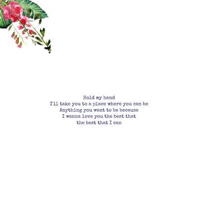 Trendy, kleurrijke trouwkaart met prachtige bloemen 2