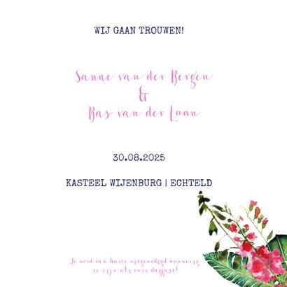 Trendy, kleurrijke trouwkaart met prachtige bloemen 3