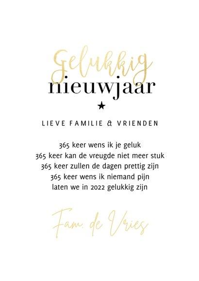Trendy nieuwjaarskaart 365 nieuwe kansen goudlook ster 3