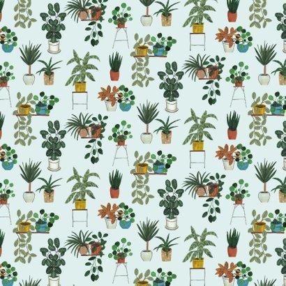 Trendy panter en planten verjaardagskaart  2