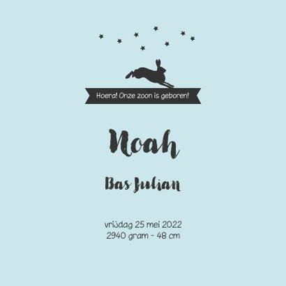 Trendy silhouet  geboortekaartje van een jongetje en dieren 3