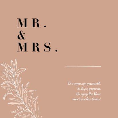 Trendy terracotta felicitatiekaart huwelijk met takje 2