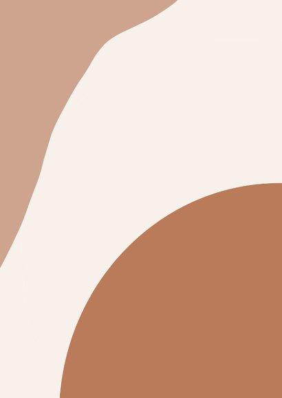 Trendy trouwkaart abstracte vormen aardetint en foto Achterkant