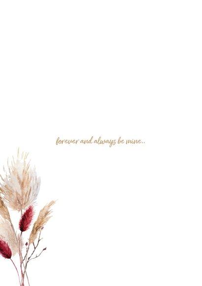 Trendy trouwkaart met pampasgras en droogbloemen 2