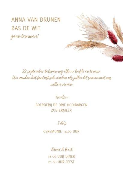 Trendy trouwkaart met pampasgras en droogbloemen 3