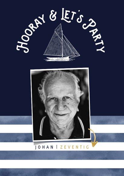Trendy uitnodiging verjaardag man marinelook met foto 2