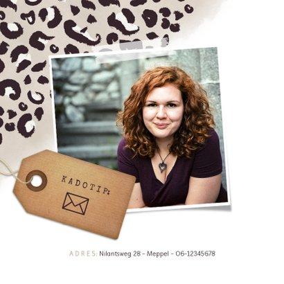 Trendy uitnodiging verjaardag met panterprint en eigen foto 2