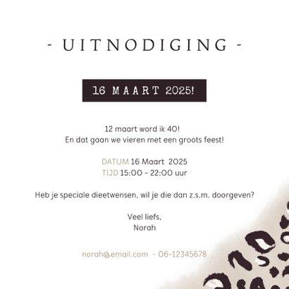 Trendy uitnodiging verjaardag met panterprint en eigen foto 3