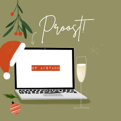 Trendy zakelijke kerstkaart borrel op afstand met laptop 2