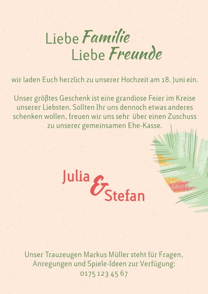 Tropische Blätter Hochzeitseinladung - We Say Yes 3