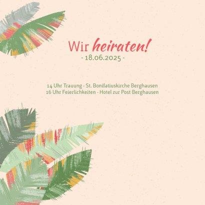 Tropische Blätter Hochzeitseinladung  2