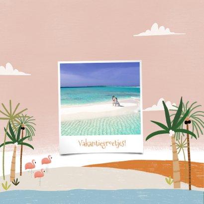 Tropische fotokaart vakantie Bonaire palmbomen en flamingo's 2