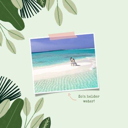 Tropische vakantiekaart Bonaire met jungle kader en flamingo 2
