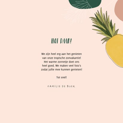 Tropische vakantiekaart groetjes uit met ananassen en foto 3
