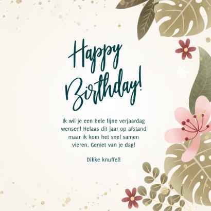 Tropische verjaardagskaart planten, bloemen, Happy birthday! 3