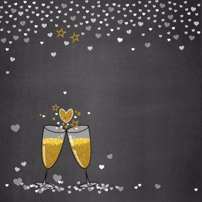 Trouwdag stijlvolle felicitatie champagne en hartjes 2