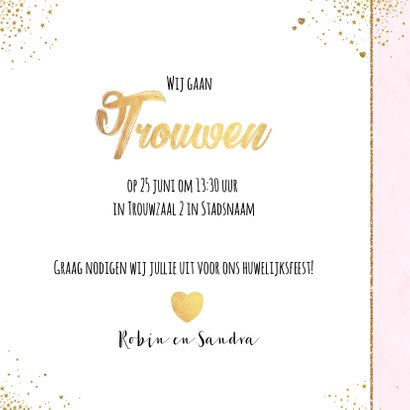 Trouwen feestelijke trouwkaart met sterretjes en hartjes 3