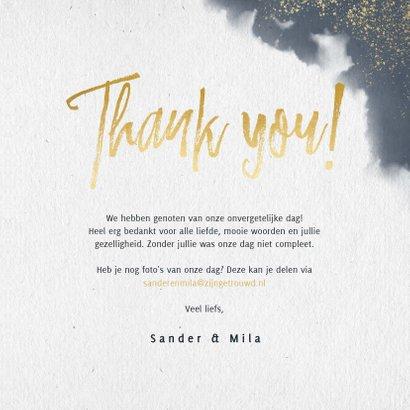 Trouwkaart bedankt met waterverf, duifjes en typografie 3