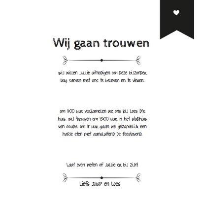 Trouwkaart Black&White stip 3