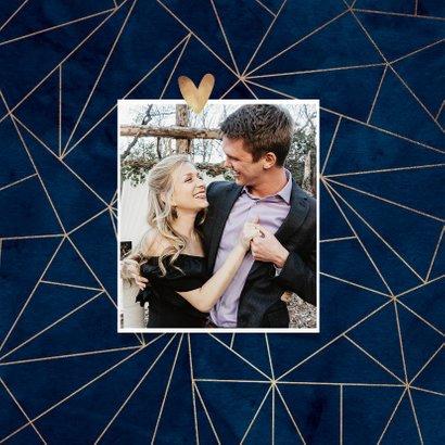 Trouwkaart blauw geometrisch stijlvol goudlook 2