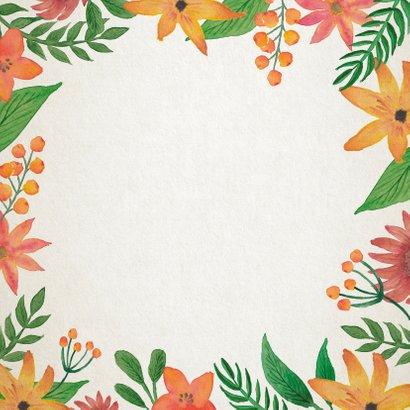 Trouwkaart bloemen en blaadjes Achterkant